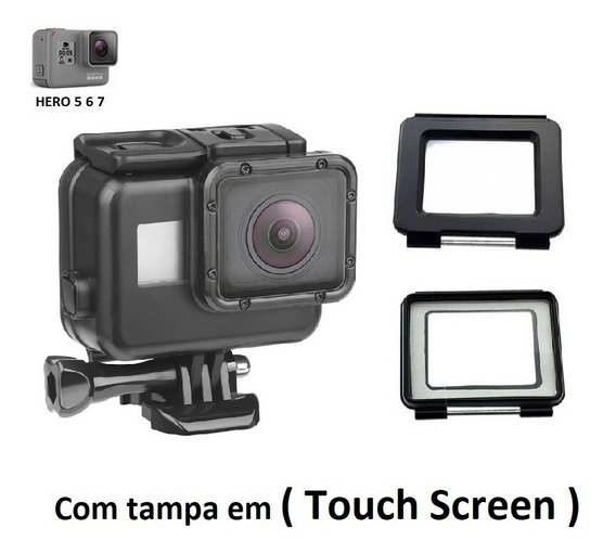 Caixa Estanque Gopro Tampa Touch Screen Gopro 5 6 7 Black