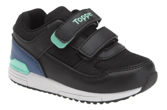 Zapatillas Topper De Niño Bebé Lele Velcro Negras Con Abrojo