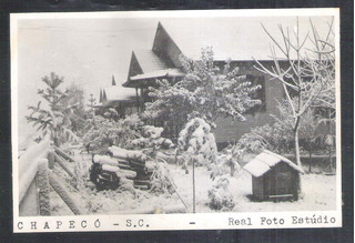 Postal Real Foto Estúdio Chapecó Casas Com Neve