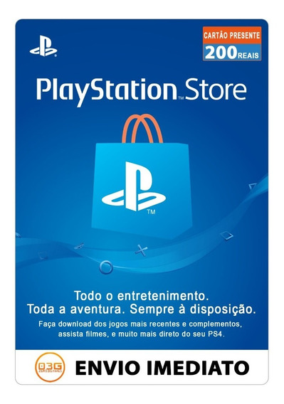 Cartão Playstation Brasil 2x100 200 Reais Psn Br Imediato