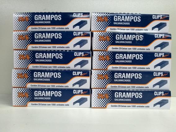 Grampos 26/6 Galvanizado P/grampeador 10 Cx 1.000 Unid Cada
