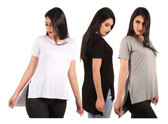 Kit Com 3 Blusas Camisas Camisetas Feminina Longline Lisas