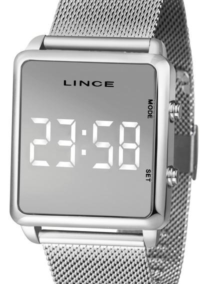 Relógio Lince Unissex Digital Quadrado Prata Mdm4619l Bxsx