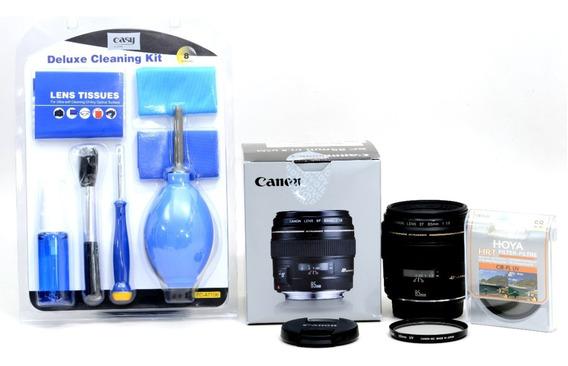 Objetiva Canon 85mm 1.8 Sem Uso + 2 Filtros De Brinde