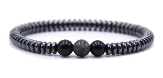 Pulseira Masculina Esferas Com Pedras Hematita Cinza E Preta