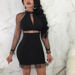 Mujeres Sexy Vestido Delgado Malla Empalme Mangas Largo Perl