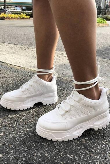 Tenis Sneakers Bufalo Chuncky Plataforma + 1 Par De Meias