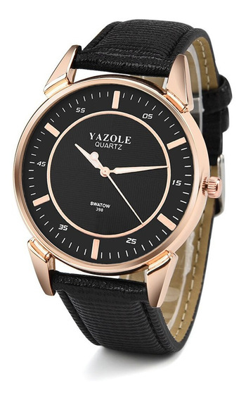 Reloj Casual Acero Cuarzo Marca Yazole Modelo 398 Noir/noir