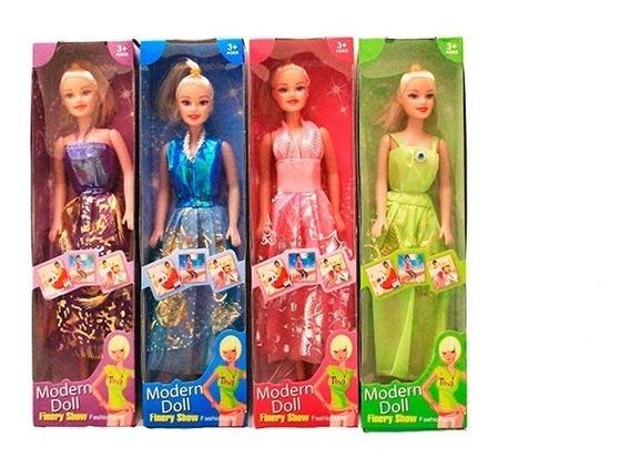 Kit 4 Boneca Plástico Similar Barbie Vestido Fashion 4 Cores