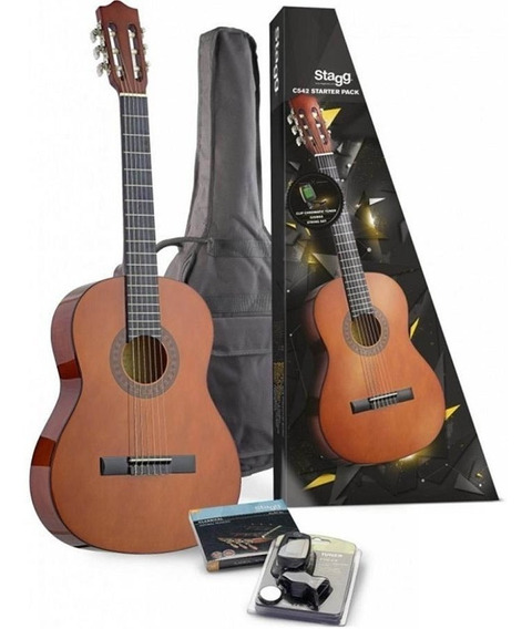 Guitarra Clásica 4/4 T De Alpaca Funda Afinador Stagg C542p