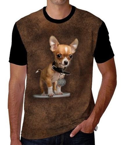 Imagen 1 de 2 de Playera De Perro Chihuahua Con Collar Del Calendario Azteca