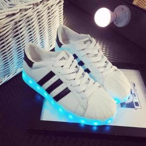 Tenis Zapatillas adidas Super Star Luces Led Niños Blanco