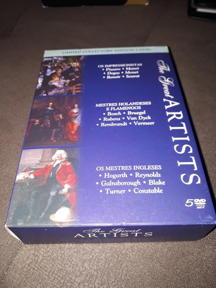 Box 5 Dvds The Great Artists - Pissaro Bosch Hogarth Blake