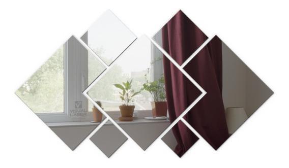 Espelho Decorativo Quadrados Grande Sala Cozinha 1,50x1,25cm