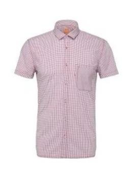 Camisa Hugo Boss (short Sleeve) Roja Med 100% Original