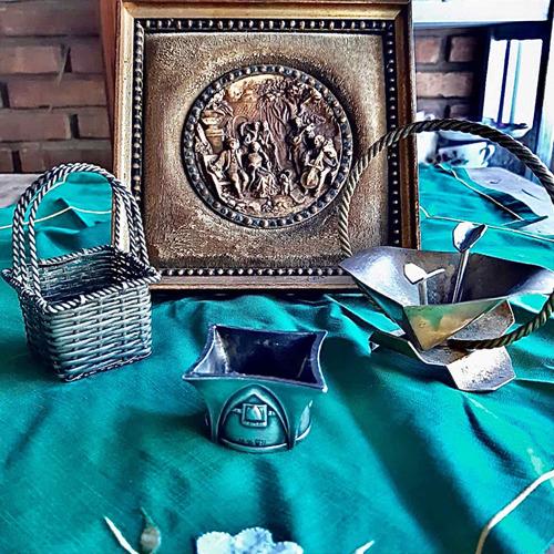 Imagen 1 de 10 de Antiguo Lote Antigüedades Servilletero, Cuadrito Y Canastas