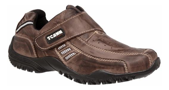 Sapatênis Masculino Velcro Couro Legitimo Tchwm Shoespromoca