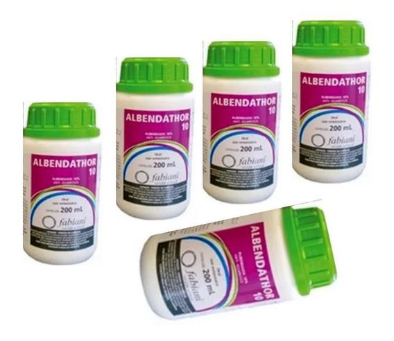 Kit Com 5 Suspensão Oral Albendazol Albendathor 10% 200ml