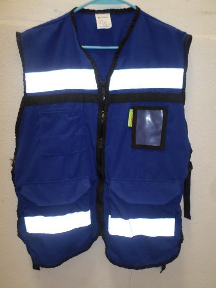 Unico Chaleco Seguridad Talla Grande Marca Jyrsa Azul Blanco