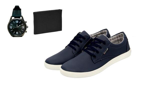Sapato Casual Masculino Com Carteira E Relogio Oferta Black