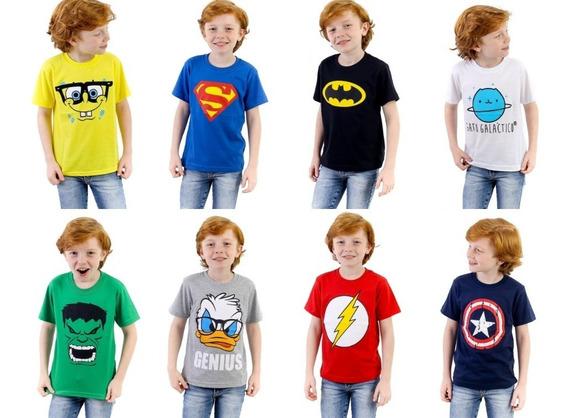 Kit 18 Camisetas Infantil + 04 Adesivos Super Heróis De Brinde