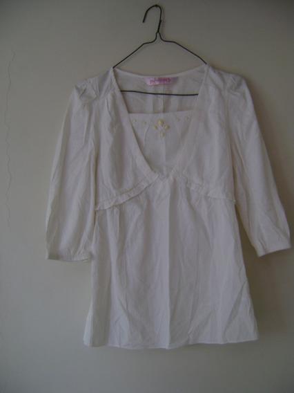 Camisa Blanca De Vestir Manga 3/4 Dama