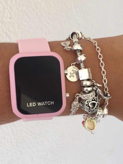 Relógio Led Watch Rosa + Caixinha