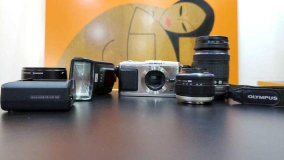Câmera Olympus Pen P1+ 2 Lentes + Parasol + Flash Metz