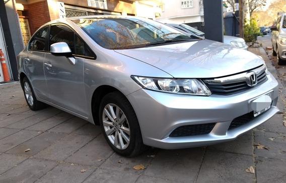 Honda Civic Lxs At. 2013 Gris Unica Mano Servis En Concesi.