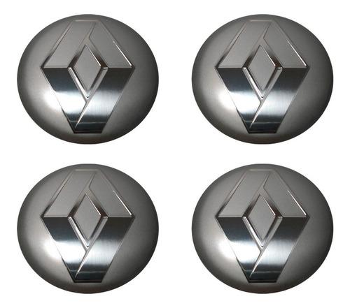Imagem 1 de 2 de Kit 4 Emblema Renault Cinza 90mm Para Calota Miolo Centro