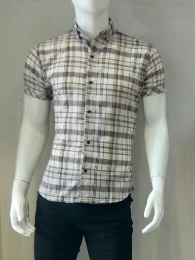 Camisa Cuadrada De Caballero En Color Beige