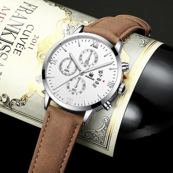 Relógio Luxo,l Pulseira Em Couro.