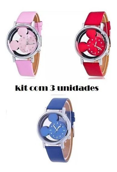 Relógio Mickey C\ Fundo Transparente - Kit Com 3 Unidades