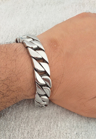 Pulseira Bracelete Masculina Grossa Lisa Aço Inox Cirúrgico