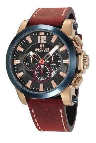 Relógio Cronógrafo Seculus Masculino Rosé Pulseira Em Couro 13027gpsvdc1 - Nota Fiscal 2 Anos De Garantia