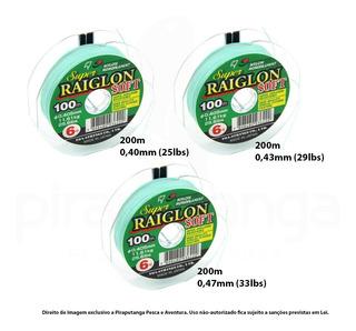 Kit 600m Linha Pesca Super Raiglon Soft 0,40mm 0,43mm 0,47mm