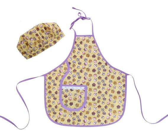 Avental Infantil Com Chapéu De Cozinheiro Cupcake