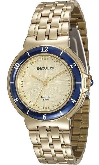 Relógio Seculus Feminino Dourado Analógico