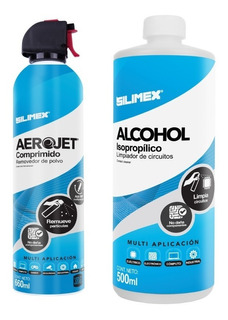 Kit Alcohol Isopropilico 1l + Aire Comprimido 660ml Silimex