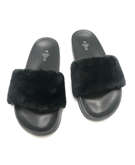 Sandalia Peluche Negro Moda Casual