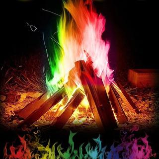 Fuego Mágico Colorido Llamas Polvo Pirotecnia Llamas Fogata
