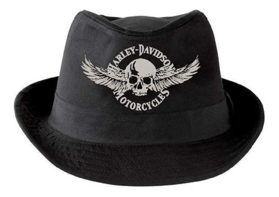 Harley Davidson Chapéu Fedora Tecido Caveira Import Eua