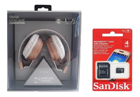 Fone De Ouvido De Luxo Bluetooth C/ Microfone E Cartão 4gb