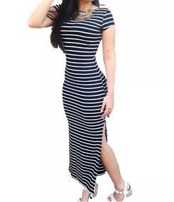 Vestidos Feminino Longos Listrados Moda Evangélica