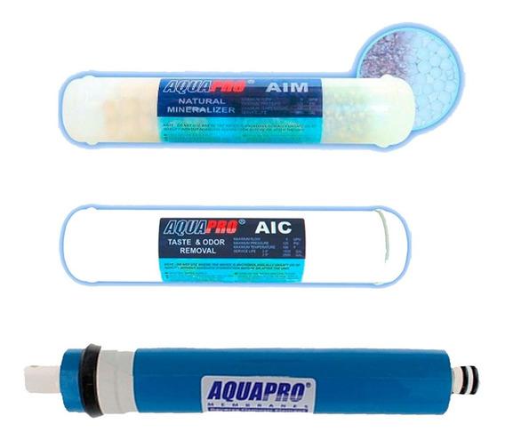 Kit Aquapro Membrana 75 Gpd Mineralizador Y Post Carbon