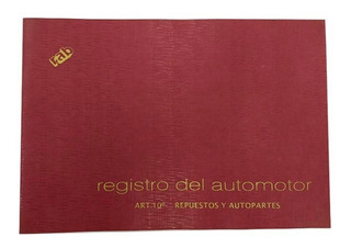Libro Registro Automotor Autopartes Repuestos Rab 2319