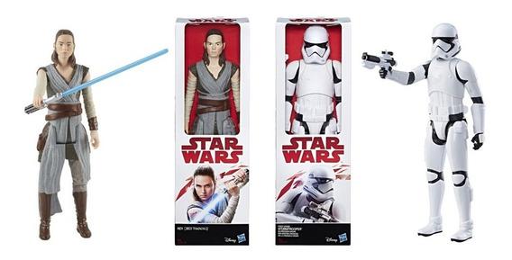 2 Bonecos Star Wars Rey E Stormtrooper 30cm - Hasbro C1429