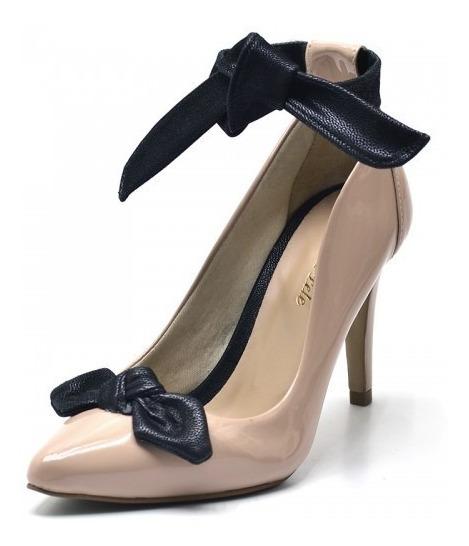 Sapato Scarpin Laço Salto Alto Fino Branco Nude Conforto