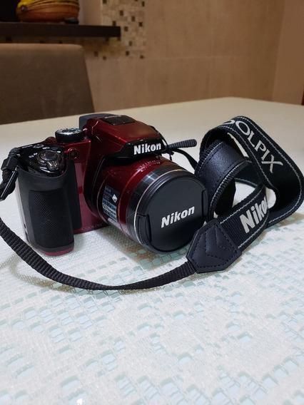 Camera Nikon Semi Profissional Coolpix P500 Usada Vermelha