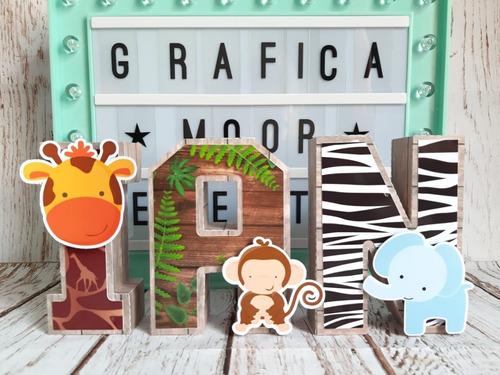 Letras 3d Animales De La Selva Bosque Candy Deco X5 20 Cm